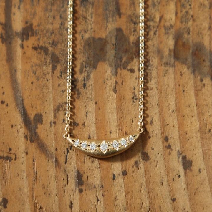 ダイヤモンド 三日月 ネックレス 『Etoiles』 ネックレス レディース 三日月ネックレス k18 18金 18k k10 10金 10k ゴールド ペンダント ダイアモンド pendant つや消し 大人 女性 上品 送料無料 ギフト プレゼント