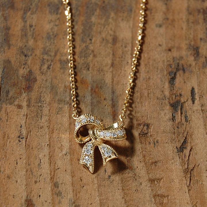 ダイヤモンド リボン ネックレス 『Ribbon』 ネックレス レディース リボンネックレス k18 18金 18k k10 10金 10k ゴールド ペンダント ダイアモンド pendant 大人 女性 かわいい 繊細 送料無料 ギフト プレゼント