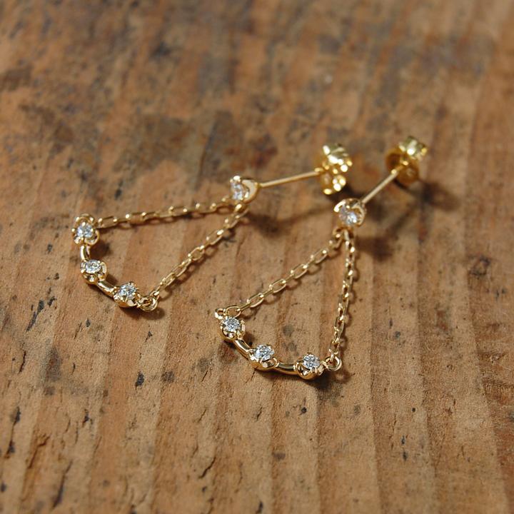 ダイヤモンド シャンデリア ピアス 『Chandelier』 ピアス シャンデリアピアス レディース k18 18金 18k k10 10金 10k ゴールド ダイアモンド earrings 揺れる スウィング 大人 女性 上品 送料無料 ギフト プレゼント
