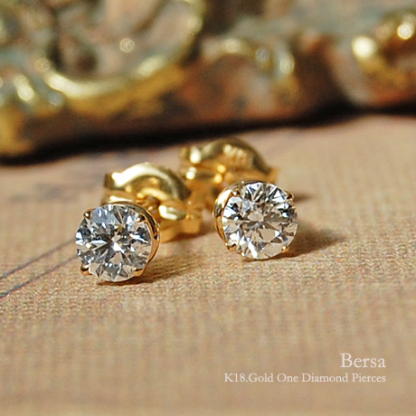 一粒 ダイヤモンド ピアス 『Bersa 0.16ct 』 ピアス レディース 一粒ダイヤ k18 18金 18k k10 10金 10k ゴールド ダイアモンド スタッド earrings シンプル 大人 女性 上品 華奢 送料無料 ギフト プレゼント