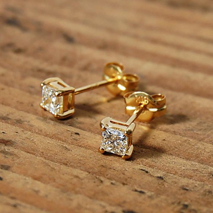 一粒 プリンセスカット ダイヤモンド ピアス 『PRINCESS』 ピアス レディース k18 18金 18k k10 10金 10k ゴールド プリンセスダイヤ 一粒ダイヤ earrings スタッド 大人 女性 上品 シンプル 送料無料 ギフト プレゼント