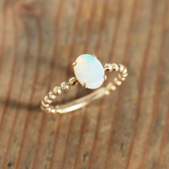 White Opal Ring リング レディース 指輪 オパール ダイヤモンド k18 18金 18k K10 10金 10K ゴールド ピンクゴールド 女性 大人 プレゼント ギフトfb6yv7Yg