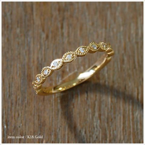 "K18 钻戒""叶基本环 01' 女装拨号环植物植物纹样黄金 18 k 金 18k 大小的问题粉红色白色黄金成人精巧的戒指盖印日本白金 10P24Oct15"
