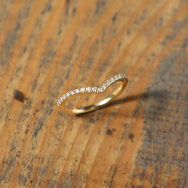 ダイヤモンド Vライン リング 『V Line Stack Half Eternity Ring』 ポイント10倍 指輪 リング レディース k18 18金 18k k10 10金 10k ゴールド Vラインリング ダイヤ ring 大人 女性 上品 重ね着け 送料無料 ギフト プレゼント