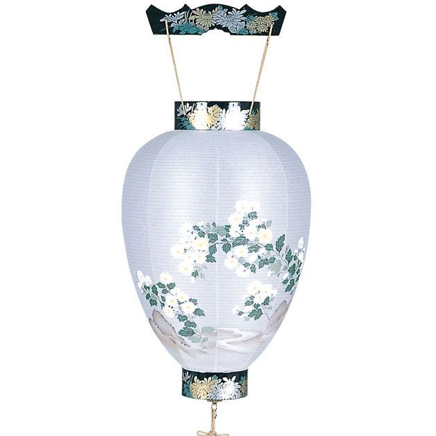 木製の御所デザイン盆提灯「岩に小菊」。新デザインの数量限定商品です。【G37GS1261L】