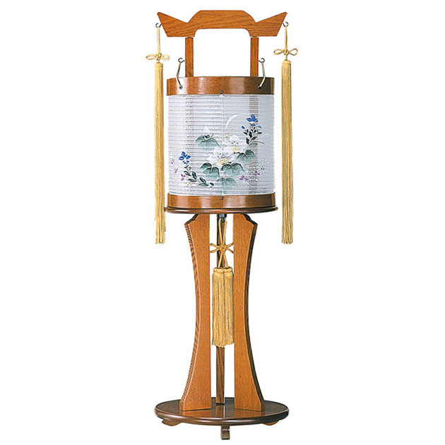 コンパクトNEWスタイルモダン盆提灯。絹製絵入り回転仕様が魅力の盆ちょうちんです。【G26CO6435】