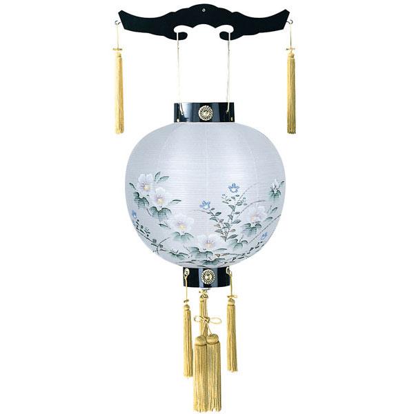 木製の御殿丸デザイン盆提灯「芙蓉」。送料無料・美しい花模様が魅力です。【G45GT7773M】