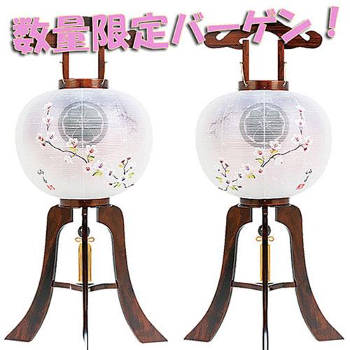 一対絵模様の家紋入れ無料の木製盆提灯。送料無料・新デザインの特選商品です。【G52KO3516P】