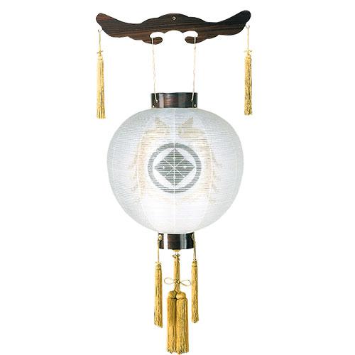 家紋入れ無料の木製御殿丸デザイン盆提灯。送料無料の家紋入りスタイル最高級商品です。【G66KG7225WS】