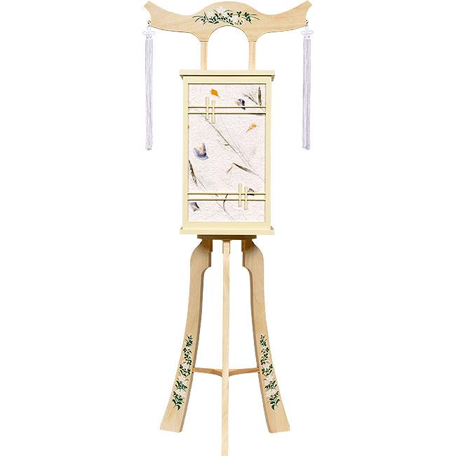 白を基調にした神道用の木製盆提灯送料無料・スタイリッシュな新デザインが素敵です。【G35ST8438】