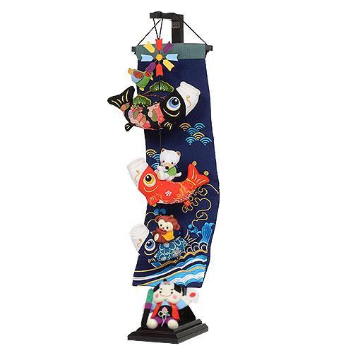 【鯉と桃太郎】小 5-S38 可愛いちりめんの鯉のぼりと桃太郎 五月人形の脇飾りや、端午の節句のお祝い、お誕生日プレゼントに最適の室内飾りです。 H71cm