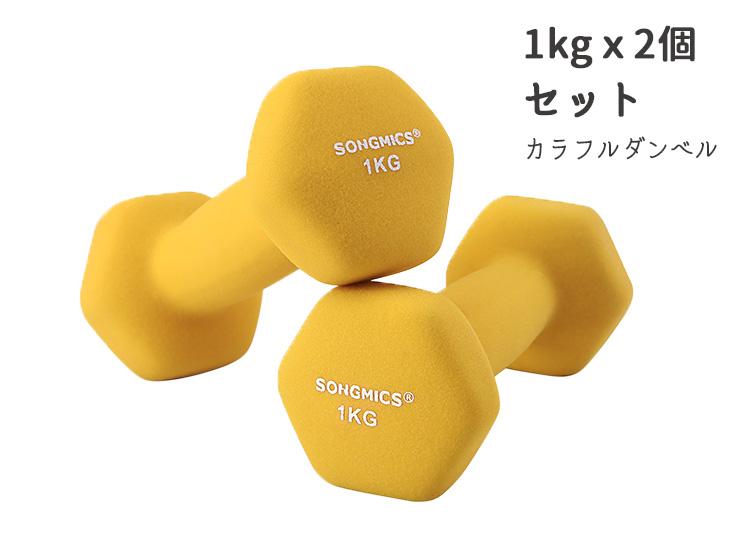 カラフル 鉄アレイ 2キロ もちやすい コンパクト エクササイズ SONGMICS ダンベル 1KG×2個セット 筋力アップ 誕生日/お祝い レディース カラーダンベル フィットネス 優先配送 おしゃれ アウトドア レッド 小型