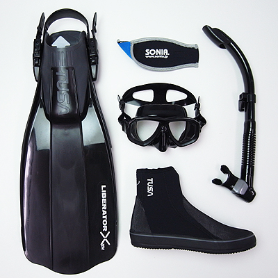SONIA(ソニア) 軽器材5点セット【ブラック/SF】TUSA ダイビング マスク フィン スノーケル ブーツ