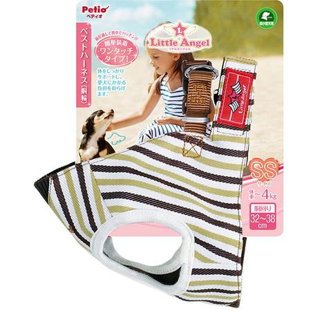 ペティオ リトルエンジェル 日本未発売 ベストハーネス 商店 ストライプ SSサイズ:4kgまでの超小型犬用 ブラウン