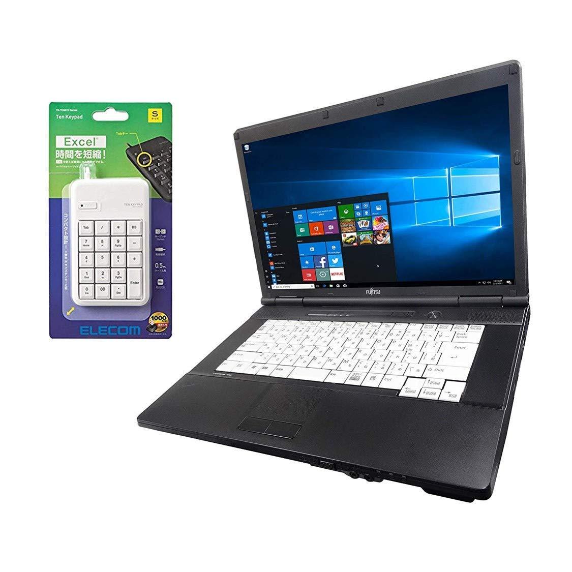 【中古】【Office搭載】【Win A561/C/第二世代Core 10搭載】富士通 Office付き 2.5GHz/メモリー4GB/新品SSD:120GB/DVDドライブ/外付き10キー付/大画面15インチ/無線LAN搭載/(中古マウス付き)(新品メモリー:8GB+新品SSD240G/480G)/WPS i5