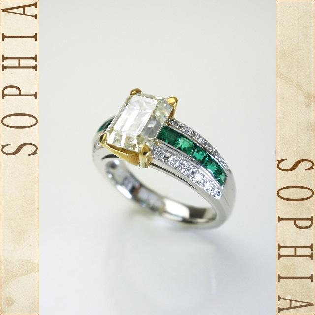 サザンクロス ダイヤモンドリング Pt900 K18 ダイヤ2.036ct エメラルド1.21ct 9号 【新品同様】【送料無料!】【代引き手数料無料!】【中古】
