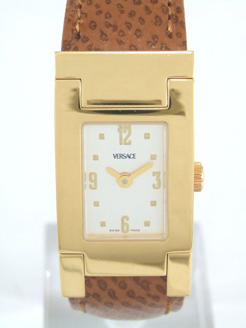 VERSACE ヴェルサーチ レディース クォーツ ウォッチ ASQ90 SS(ゴールドメッキ) 茶革ベルト ベルサーチ 腕時計【送料無料!】【代引き手数料無料!】【中古】