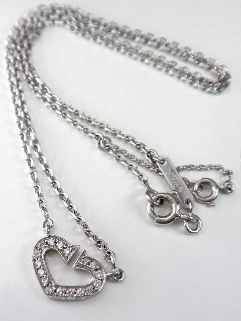 Cartier カルティエ Cハートダイヤモンドネックレス K18ホワイトゴールド K18WG ペンダント 【送料無料!】【代引き手数料無料!】【中古】