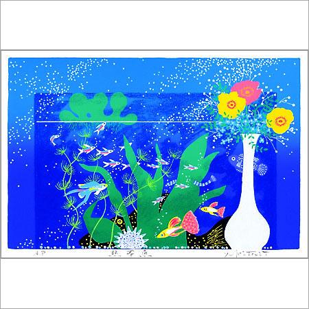 【ギフトラッピング付き】吉岡浩太郎 額縁付きシルクスクリーン(版画)557×442mm 熱帯魚