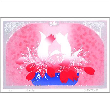 【ギフトラッピング付き】吉岡浩太郎 額縁付きシルクスクリーン(版画)557×442mm 愛の花