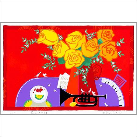 【ギフトラッピング付き】吉岡浩太郎 額縁付きシルクスクリーン(版画)557×442mm 花のメロディー