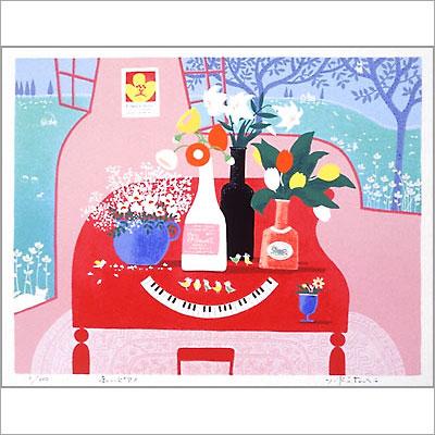 【ギフトラッピング付き】吉岡浩太郎 額縁付きシルクスクリーン(版画)655×504mm 赤いピアノ