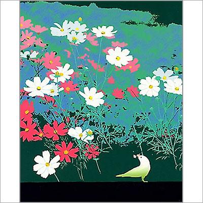 【ギフトラッピング付き】吉岡浩太郎 額縁付きシルクスクリーン(版画)655×504mm 野辺の花