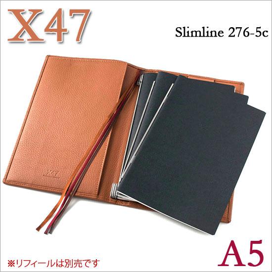 X47 ドイツ製 システム手帳 A5 スリムライン シュリンクレザー コニャック ライトブラウン