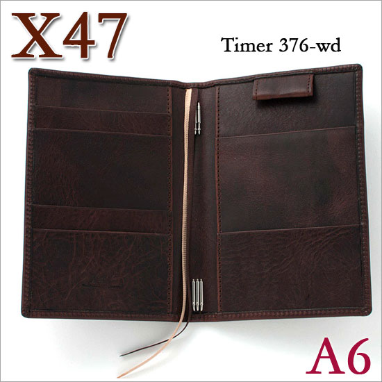 X47 ドイツ製 システム手帳 A6 タイマー ビンテージカスタニア ダークブラウン