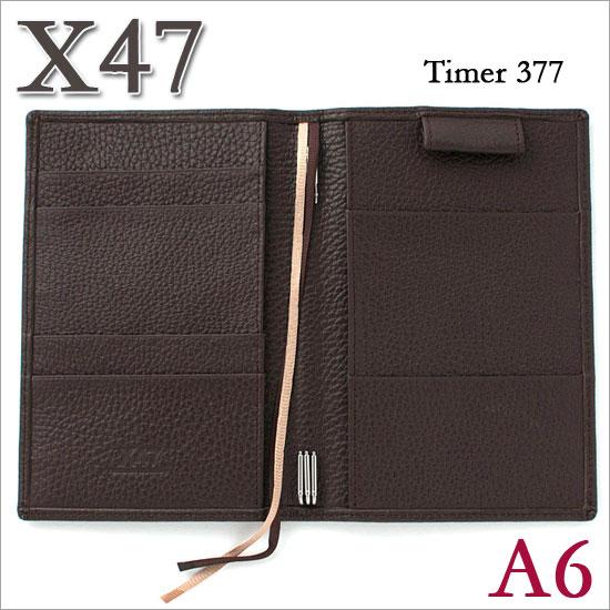 X47 ドイツ製 システム手帳 A6 タイマー シュリンクレザー ダークブラウン