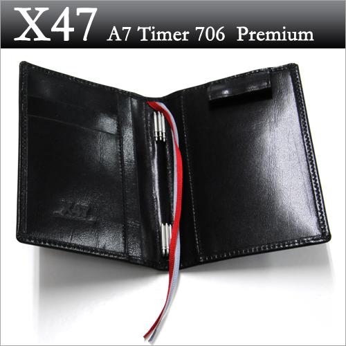 X47 ドイツ製 システム手帳 A7タイマー ブラック本革手帳 プレミアム ガウチョA7 Timer 706 Premium