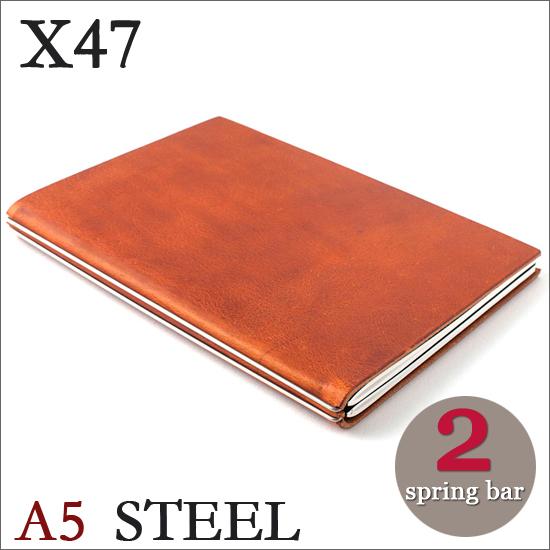 X47 STEEL 本革 A5 コニャック ライトブラウン 2本バードイツ製 ノートブック無地・方眼 ノートセット