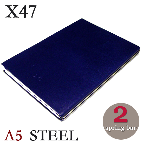 X47 STEEL 本革 A5 ブルー 2本バードイツ製 ノートブック無地・方眼 ノートセット