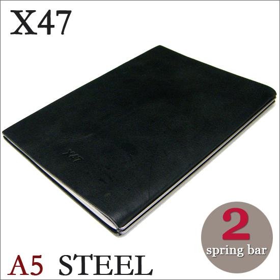 X47 STEEL 本革 A5 マットブラック 2本バードイツ製 ノートブック無地・方眼 ノートセット
