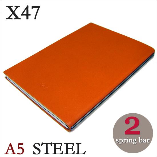 X47 STEEL 本革 A5 オレンジ 2本バードイツ製 ノートブック無地・方眼 ノートセット