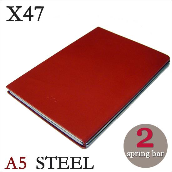 X47 STEEL 本革 A5 レッド 2本バードイツ製 ノートブック無地・方眼 ノートセット