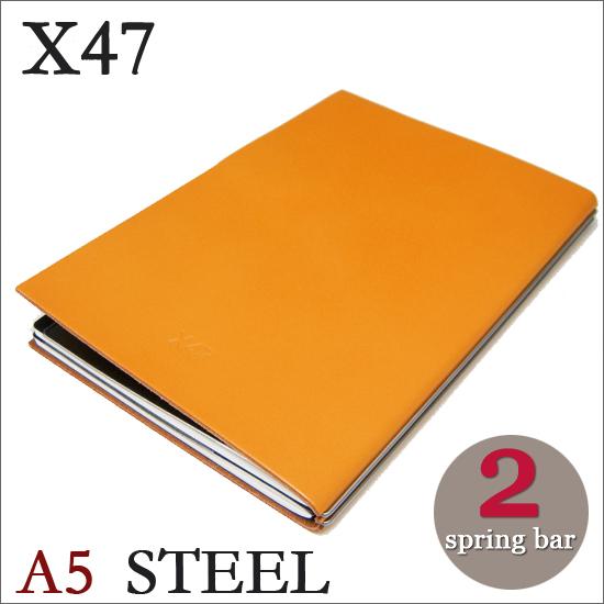 X47 STEEL 本革 A5 イエロー 2本バードイツ製 ノートブック無地・方眼 ノートセット