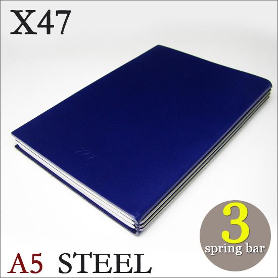X47 STEEL 本革 A5 ブルー 3本バードイツ製 ノートブック横罫・無地・方眼 ノートセット
