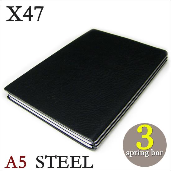 X47 STEEL 本革 A5 マットブラック 3本バードイツ製 ノートブック横罫・無地・方眼 ノートセット