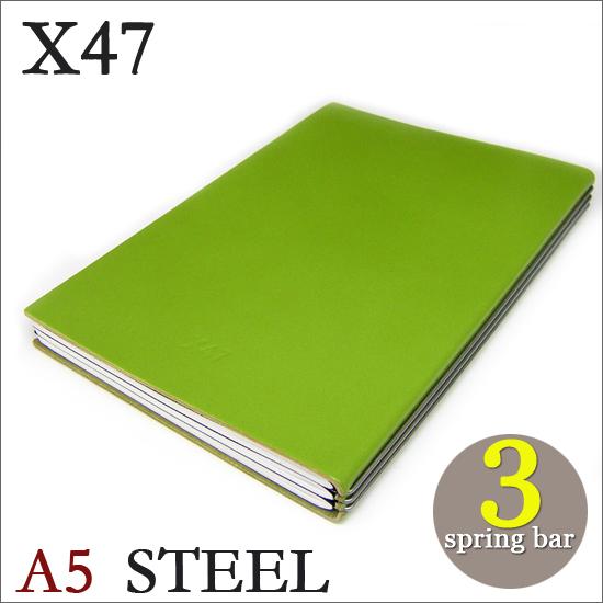 X47 STEEL 本革 A5 グリーン 3本バードイツ製 ノートブック横罫・無地・方眼 ノートセット