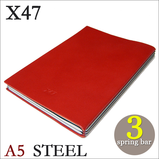 X47 STEEL 本革 A5 レッド 3本バードイツ製 ノートブック横罫・無地・方眼 ノートセット