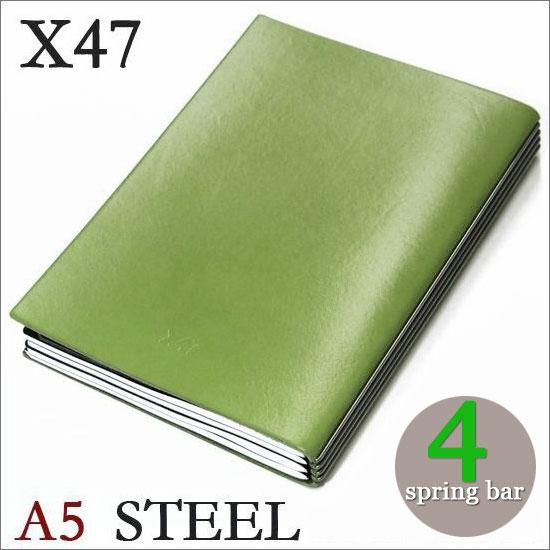 X47 STEEL 本革 A5 グリーン 4本バードイツ製 ノートブック横罫・無地・方眼 ノートセット
