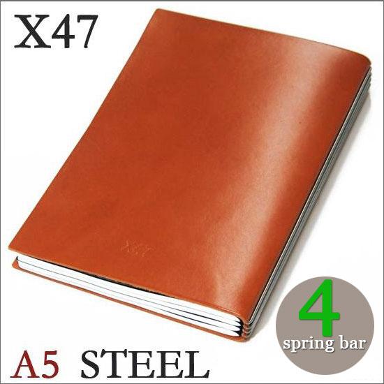 X47 STEEL 本革 A5 オレンジ 4本バードイツ製 ノートブック横罫・無地・方眼 ノートセット