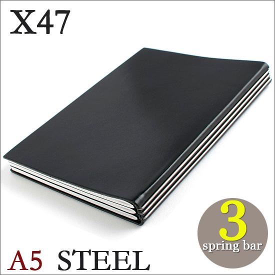 X47 STEEL 本革 A5 ブラック 3本バードイツ製 ノートブック横罫・無地・方眼 ノートセット