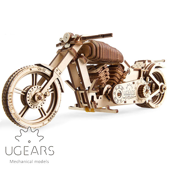 Ugears 使い勝手の良い ユーギアーズ 木製組立立体パズル バイク VM-02 割り引き