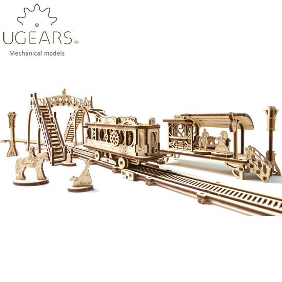 Ugears ユーギアーズ  木製組立立体パズル トラムライン