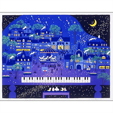 【ギフトラッピング付き】吉岡浩太郎 額縁付きシルクスクリーン(版画)655×504mm 星の降る町