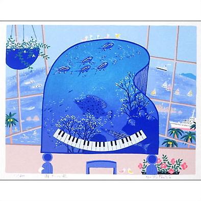 【ギフトラッピング付き】吉岡浩太郎 額縁付きシルクスクリーン(版画)655×504mm 潮さいの歌
