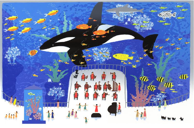 【ギフトラッピング付き】吉岡浩太郎 額縁付きシルクスクリーン(版画)557×442mm 魚の楽園