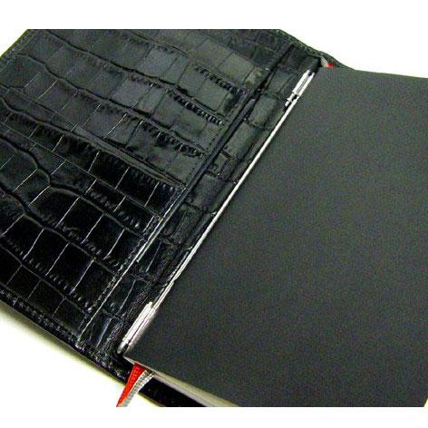 X47 ドイツ製 システム手帳 A6 ブラック本革クロコ型押しA6 Timer 375Premium